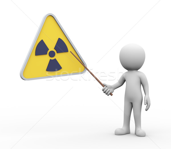 3d man presenting explaining radioactive radiation symbol Stock photo © nasirkhan
