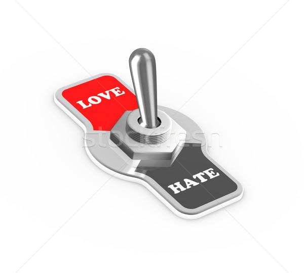 3D nefret sevmek değiştirmek düğme Stok fotoğraf © nasirkhan