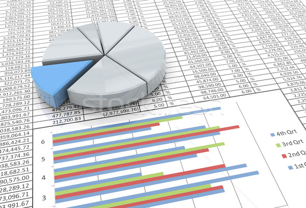 3d pie chart on spreadsheet background Stock photo © nasirkhan