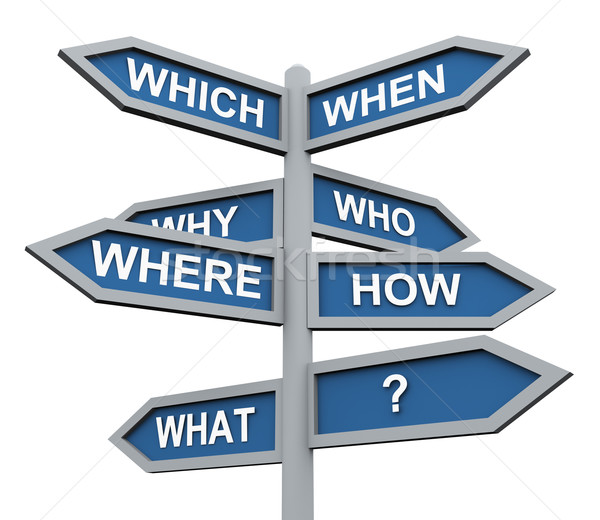 3d questions direction sign Stock photo © nasirkhan