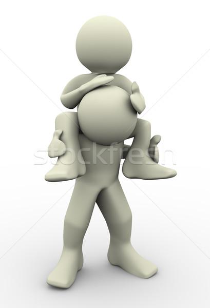 Сток-фото: 3d · люди · плечо · 3d · визуализации · человека · семьи · счастливым