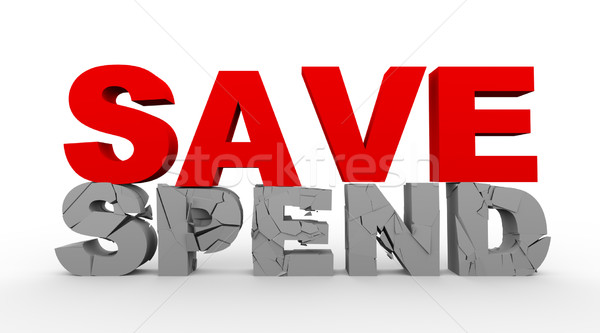3d word save over cracked spend word Stock photo © nasirkhan