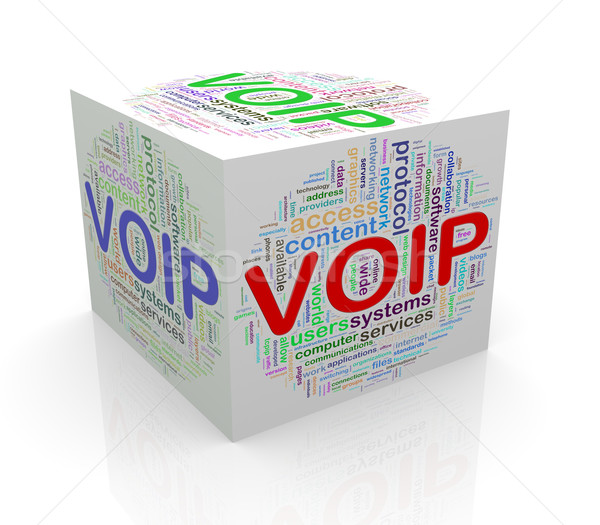 3d cube word tags wordcloud of voip Stock photo © nasirkhan