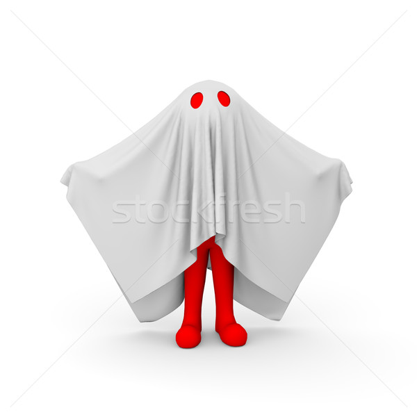 3d red man in ghost costume Stock photo © nasirkhan