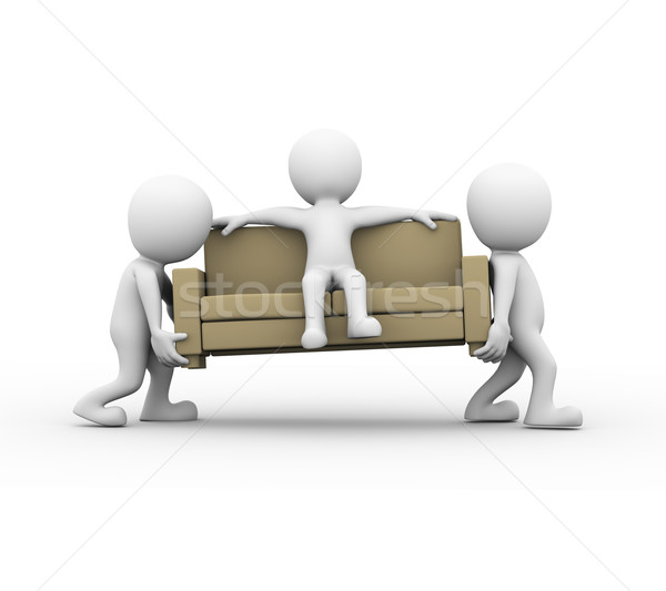 3d people carrying a sofa with man Stock photo © nasirkhan