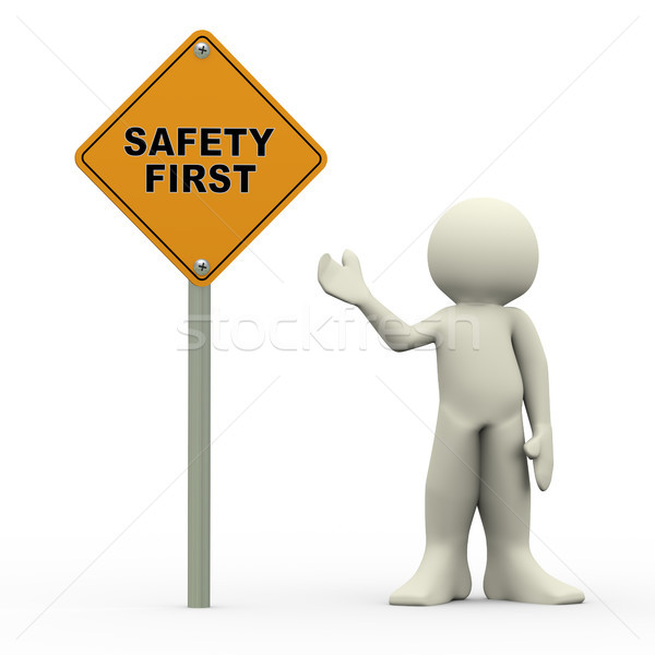 3d man holding safety first roadsign Stock photo © nasirkhan