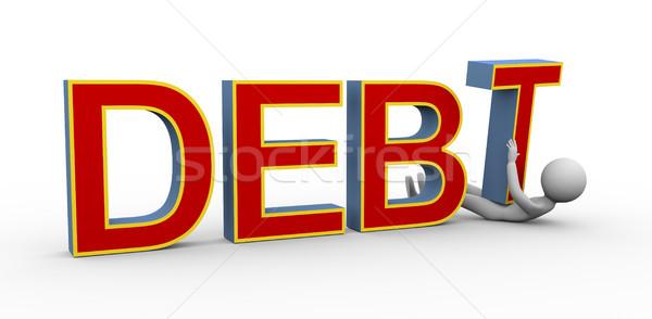 3d man under debt Stock photo © nasirkhan