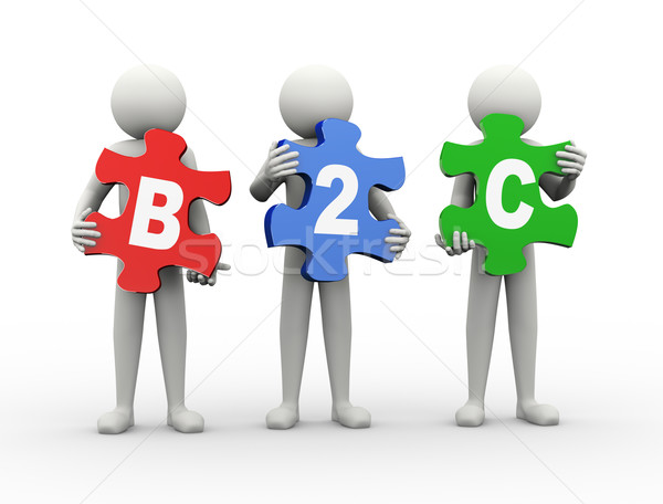 3d man puzzle piece - b2c Stock photo © nasirkhan