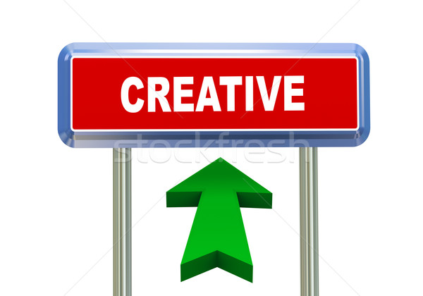 3d arrow road sign - creative Stock photo © nasirkhan