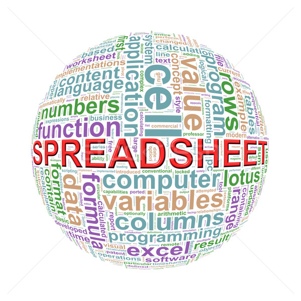 Wordcloud word tags ball of spreadsheet Stock photo © nasirkhan