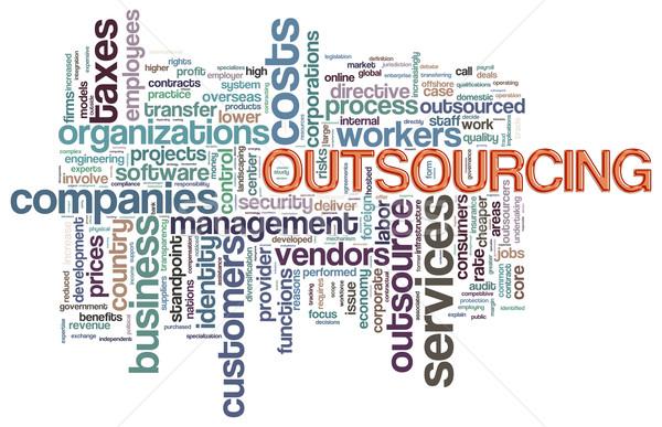 Outsourcing illustratie woord business partij Stockfoto © nasirkhan