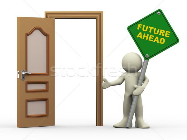 3d man, open door and future ahead sign Stock photo © nasirkhan