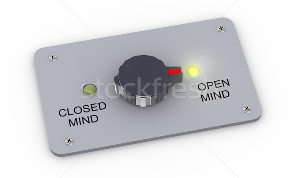 Stock photo: 3d open and closed mind switch