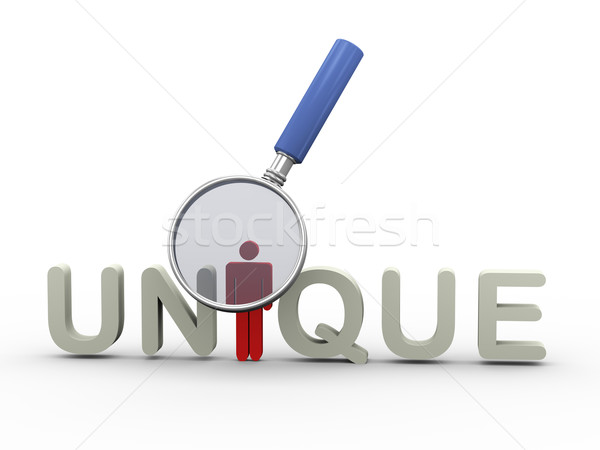 3d magnifier and word unique Stock photo © nasirkhan