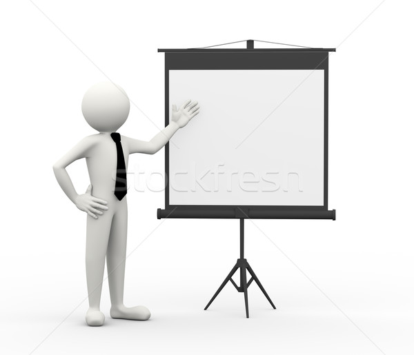 3D projektör ekran işadamı Stok fotoğraf © nasirkhan