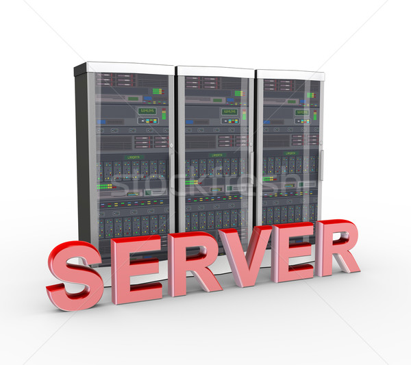 3d text server and computer network servers  Stock photo © nasirkhan
