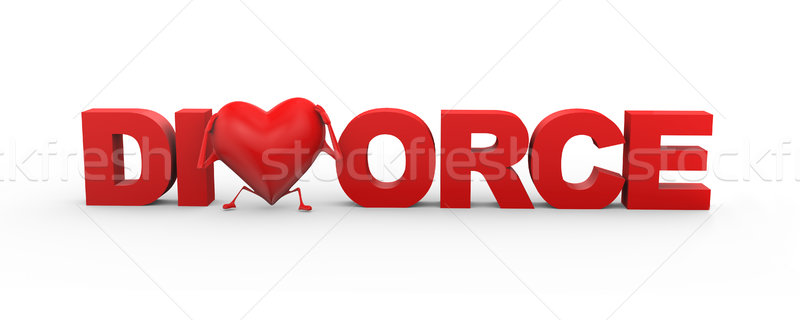 3d heart divorce word illustration Stock photo © nasirkhan