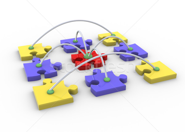 Quebra-cabeça rede 3d render networking computador internet Foto stock © nasirkhan