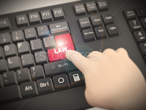 Stock photo: 3d keyboard finger pressing law button
