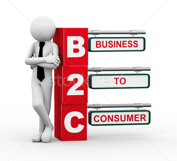 3d businessman with b2c signpost illustration Stock photo © nasirkhan