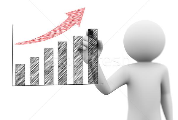 3d man dessin croissance progrès graphique à barres 3D Photo stock © nasirkhan