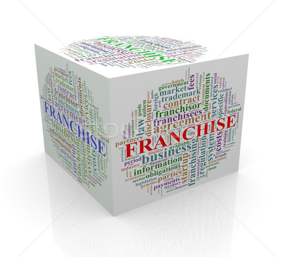 3d cube word tags wordcloud of franchise Stock photo © nasirkhan