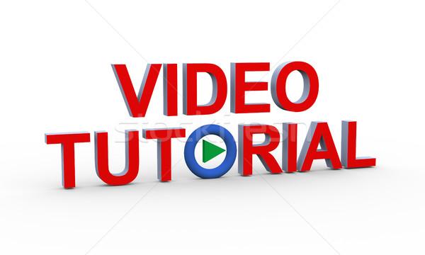 3d tekst video 3D internet Stockfoto © nasirkhan