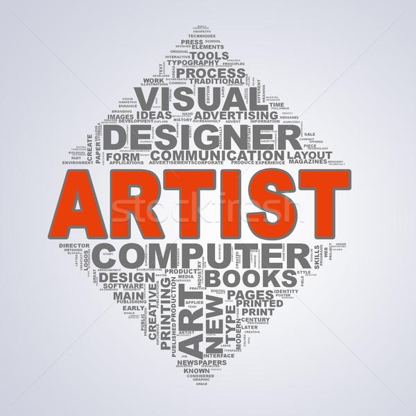 Mirror triangle design wordcloud tags artist Stock photo © nasirkhan