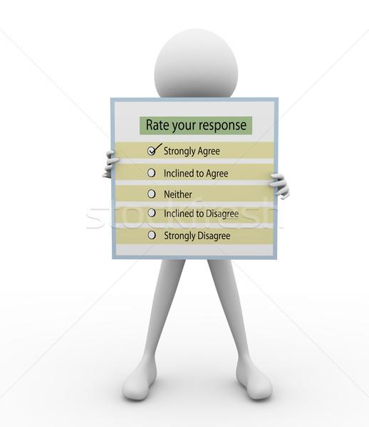 3d man vragenlijst overzicht business papier markt Stockfoto © nasirkhan
