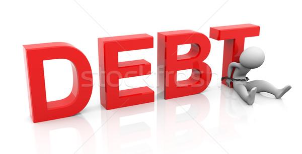3d ember adósság szöveg üzlet férfi védelem Stock fotó © nasirkhan