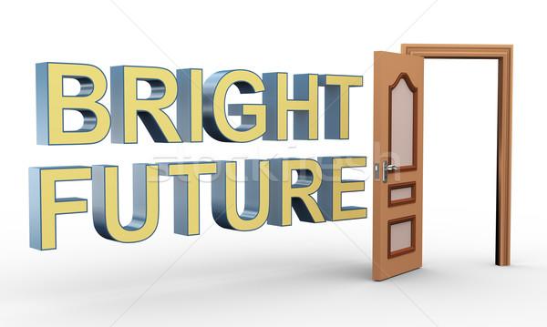 3D abrir a porta brilhante futuro 3d render Foto stock © nasirkhan