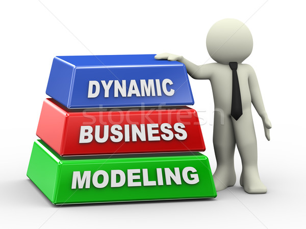 3d man and dynamic business modeling Stock photo © nasirkhan