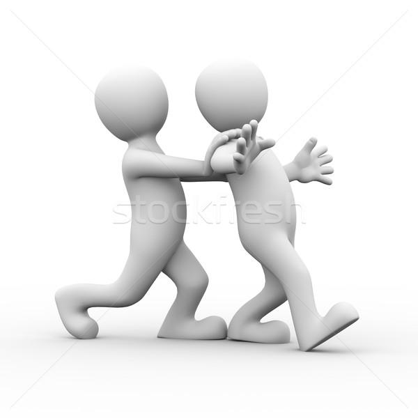 3D amigo empurrando pessoa homem Foto stock © nasirkhan