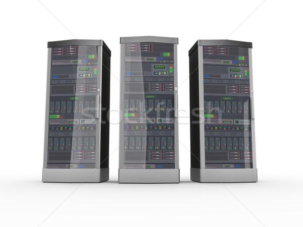 3D potężny komputera serwerów trzy Zdjęcia stock © nasirkhan