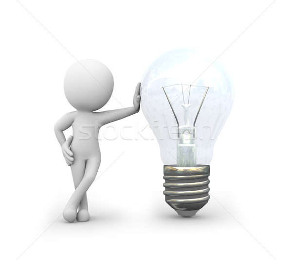 3d man standing with electric bulb  Stock photo © nasirkhan