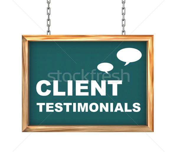 3d hanging banner - client testimonials Stock photo © nasirkhan