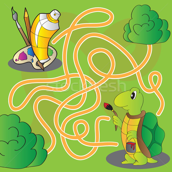 Maze for children - help the turtle get to paints and brushes  Stock photo © Natali_Brill