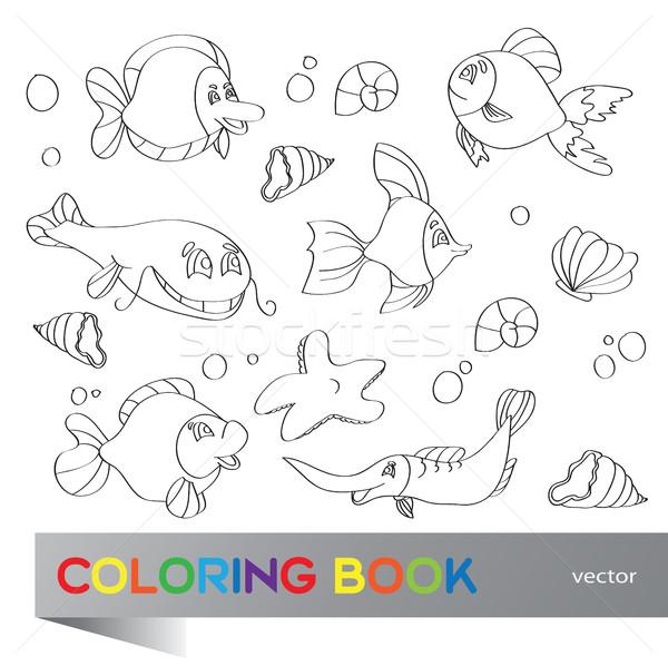 Kolorowanka morskich życia zestaw zdjęcia wody Zdjęcia stock © Natali_Brill