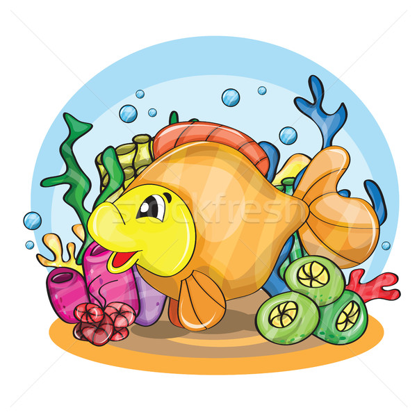 Illustration heureux Goldfish eau poissons Photo stock © Natali_Brill
