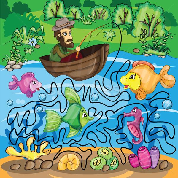 Fisherman Maze Game  Stock photo © Natali_Brill