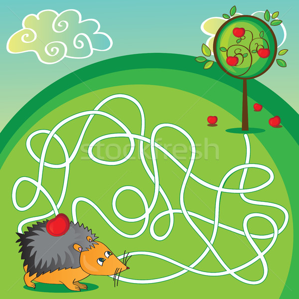 Maze for kids - help the hedgehog to get apple Stock photo © Natali_Brill