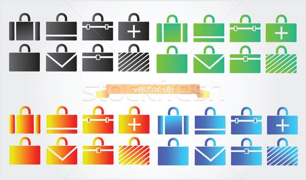 Geval iconen aktetas veiligheid reizen werken Stockfoto © Natali_Brill