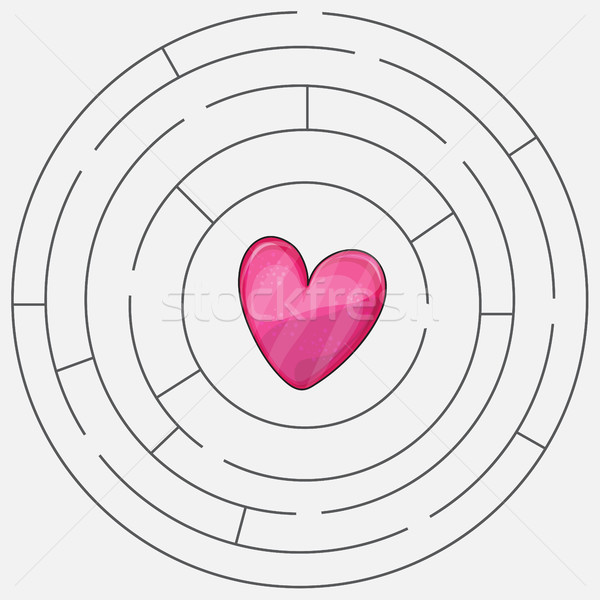Love heart maze or labyrinth valentines day Stock photo © Natali_Brill