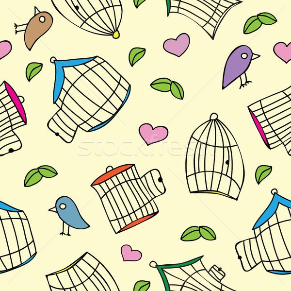 Aves pássaro flor casa fundo Foto stock © Natali_Brill