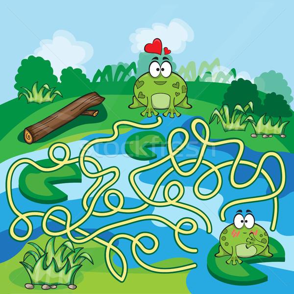 迷路 ゲーム ヘルプ カエル 見つける 方法 ストックフォト © Natali_Brill