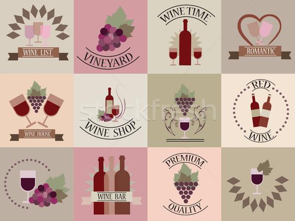 Vektör şarap etiketler kavramlar çiçekler Stok fotoğraf © Natali_Brill