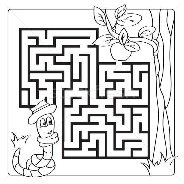 Labyrinth, maze for kids. Entry and exit. Children puzzle game - coloring book Stock photo © Natali_Brill