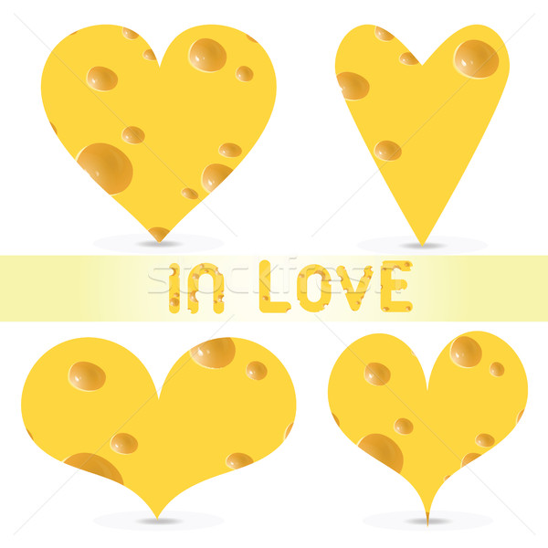 Stock photo: Vector valentines day  - cheese set