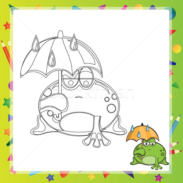 Foto stock: Ilustração · desenho · animado · sapo · livro · para · colorir · sorrir · livro