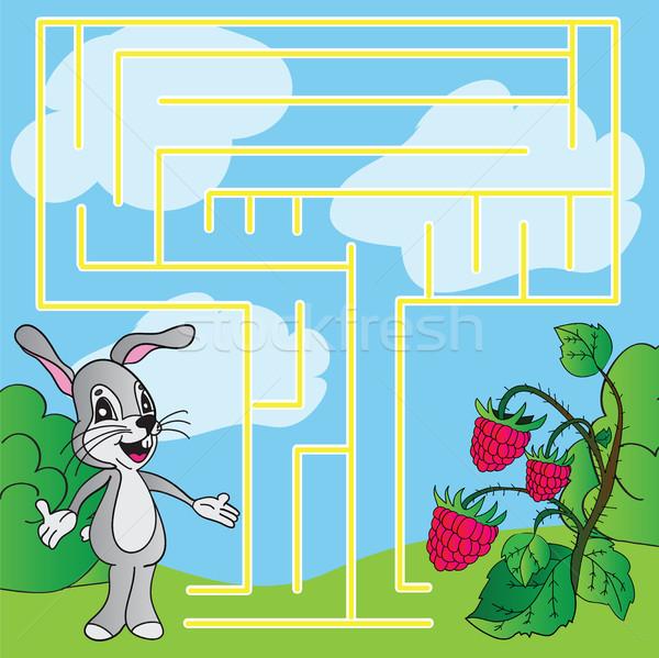 Foto stock: Quebra-cabeça · labirinto · simples · crianças · feliz · sol